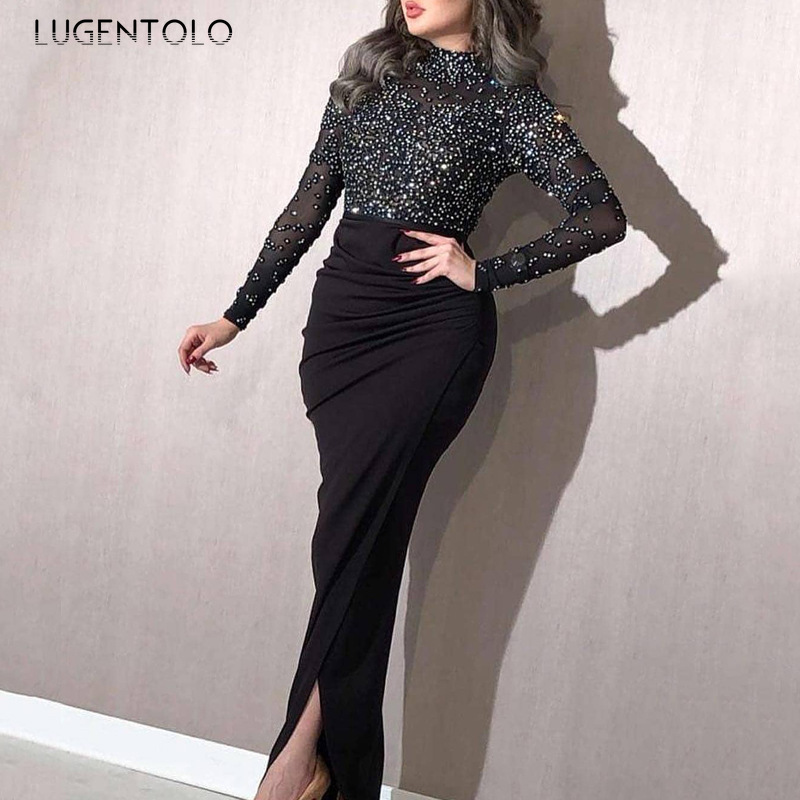 Lugentolo Women Party Dress Bronzing Sexy Summer New Empire Sheath Solid Long Sleeve Lace O-Neck Womens Dress
