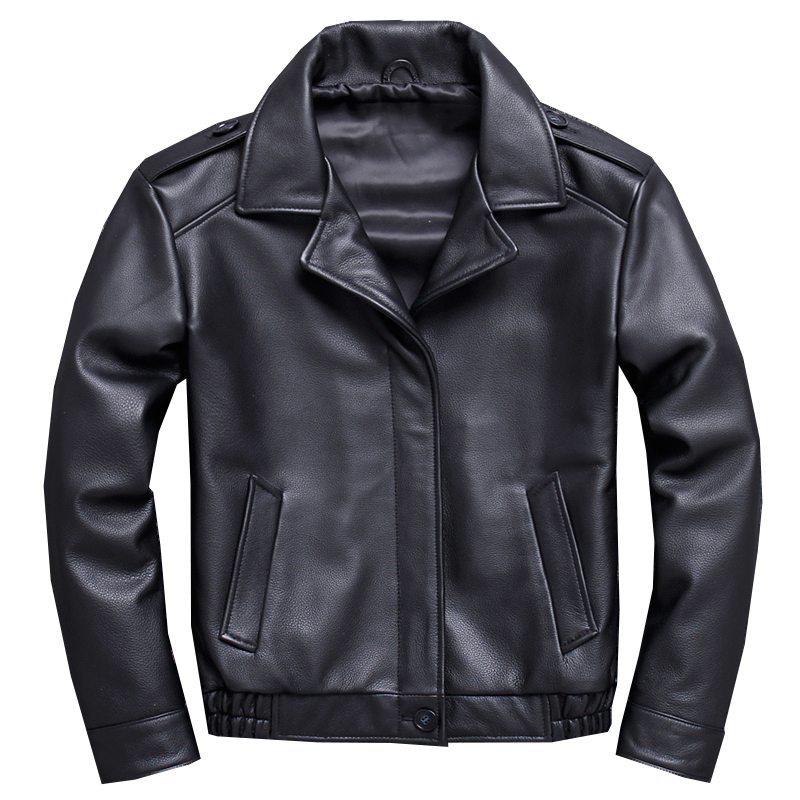 Free Shipping.mens Thick Genuine Leather Jacket.quality Cowhide Coat.quality Short Slim Outwear.fashion Casual Jackets Motor