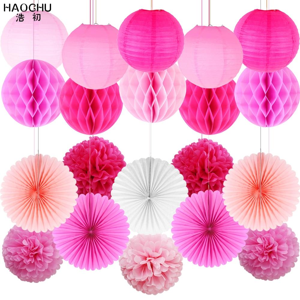20Pcs Tissue Paper Pom Poms Pink Flowers Paper Honeycomb Balls Paper Lanterns Hanging Paper Fans for Wedding Bridal Shower Decor Nursery Baby Shower Birthday