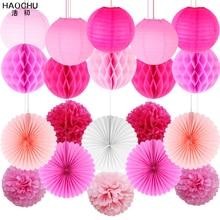 20pcs/lot Party DIY Decorations Paper Lantern Set Tissue Paper Pom Poms/Hanging Fans/Honeycomb Ball Birthday Wedding Supplies