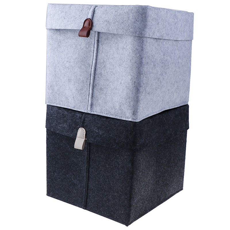 1pc Felt Storage Basket Living Room Tea Table Black Gray Sundries Storage Basket Cloth Felt Storage Box Bedroom Socks Storage
