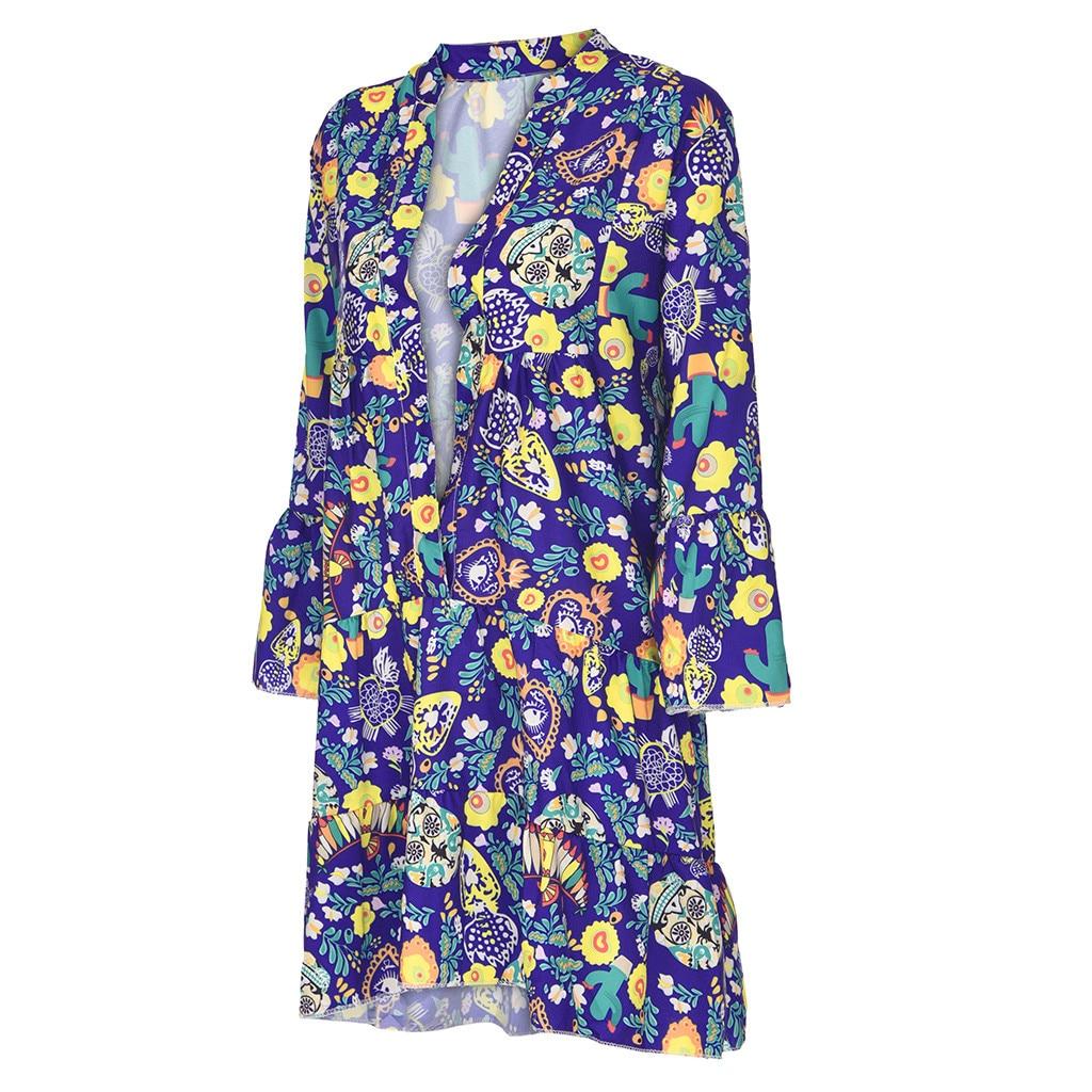 Hf091c2aef6b4469bbcdb59e6afb4e5e1D Spring Autumn Women Dress Plus Size 5XL Loose Print Long Sleeve V-Collar Button Party Dresses Casual Loose Women Dresses 2019