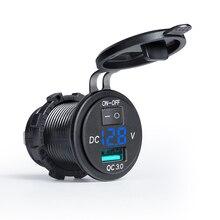 12V/24V הכפול USB מטען שקע עמיד למים QC3.0 מהיר USB הכפול מטען לרכב שקע חשמל מתאם לשקע עבור רכב סירת אופנוע