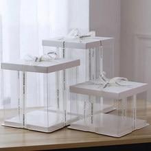 6 polegada 8 polegada 10 polegada transparente caixa de bolo de plástico caixa de embalagem de bolo organizador caixas de bolo e caixas de embalagem diy caixa de presente de casamento