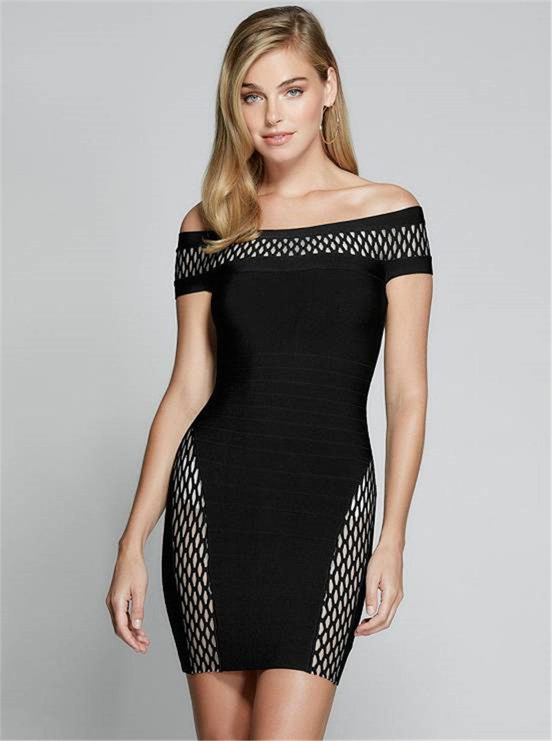 New Vestido Celebrity Women <font><b>Dress</b></font> Off The Shoulder Mini <font><b>Sexy</b></font> <font><b>Black</b></font> <font><b>Bodycon</b></font> Bandage Night Club Party <font><b>Dresses</b></font> <font><b>2019</b></font> image