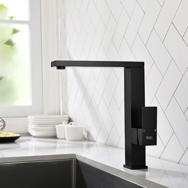 Square Kitchen Faucet Cold And Hot Copper Black Dishwasher Sink Dishwasher Universal Universal Rotary