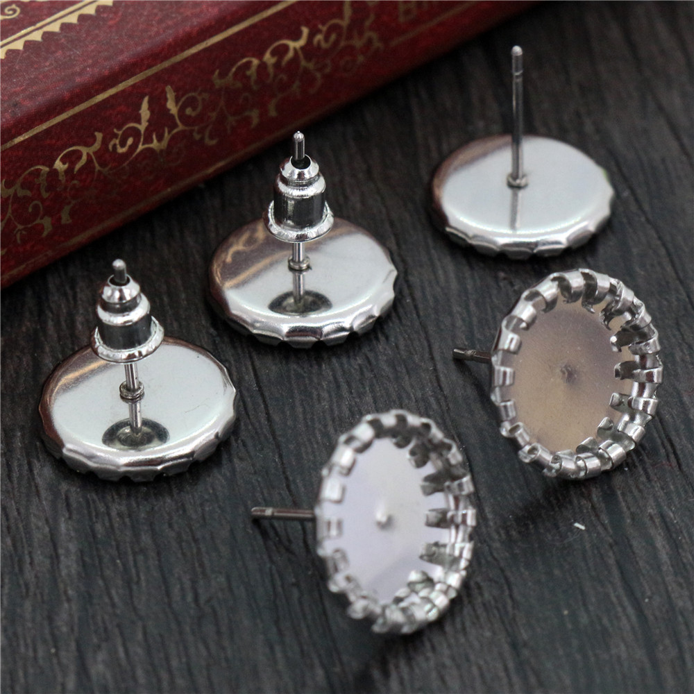(Never Fade) 20pcs 10mm Stainless Steel Earring Base Studs Ear Cameo Settings Cabochon Base Tray Blank (With Back)-T6-09