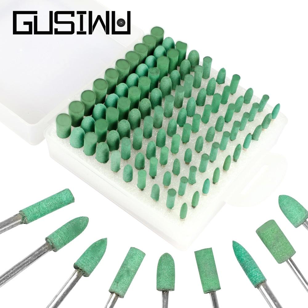 GUSIWU 100pcs Rubber Grinding Wheel Head Polishing Wheel 3mm Shank Abrasive Tool for DIY Polishing Jade Metal Wood