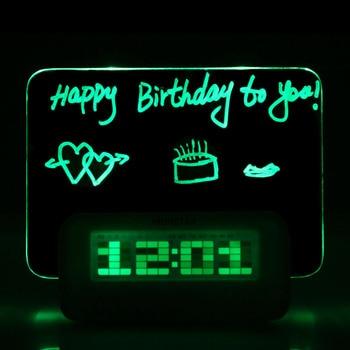 New Digital Message Board Clock Alarm Temperature Calendar Timer Blue Light
