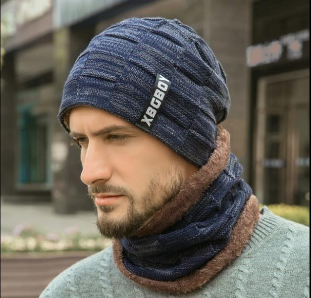 Winter Hat Cap + Neckband Plus Fleece And Thick Wool Cap Men's Knitting Cap In Autumn And Winter Europe And America