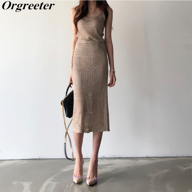 2020 Summer New Knitted Vest And Skirt Two Piece Set Women Elegant Hollow Out Sleeveless Tops And Long Skirt Knitted Suits
