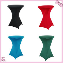 Dark blueLycra Spandex Cocktail Table Cloth For Out Door Wedding Events Party Hotel Decoration(China)