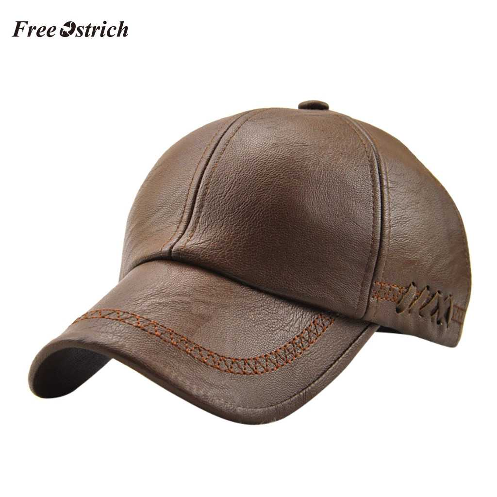Free Ostrich Men Baseball Sport Hat Fashion Simple Autumn/Winter Vintage Berets Pure Color Hat Outdoor Baseball Cap 91031