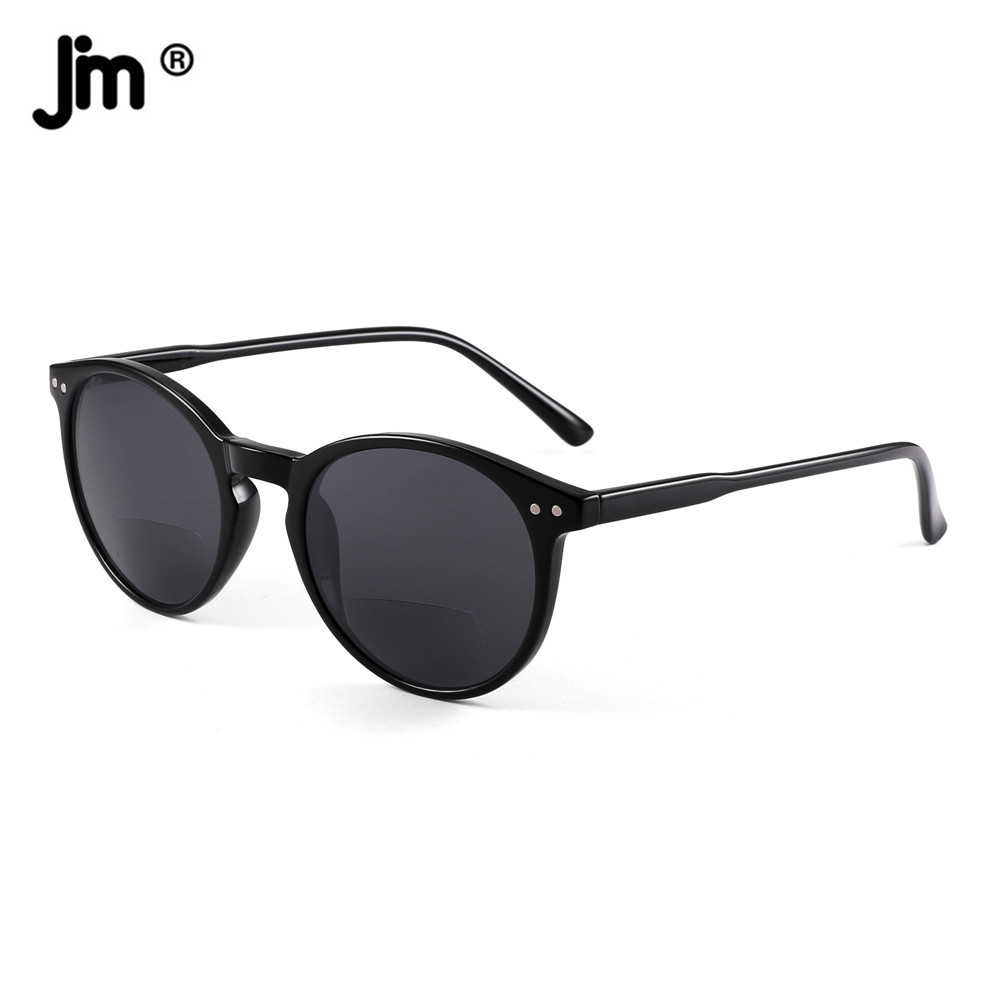 JM Round Bifocal Sunglasses Women Men Reading Glasses Vintage Magnifier Presbyopic Diopter