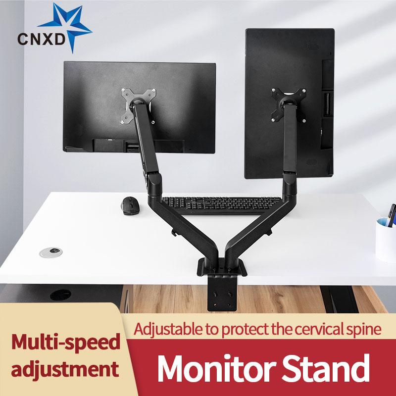 Настольный кронштейн для двух мониторов, регулируемая подставка с вращением и наклоном для ЖК-экранов от 13 до 27 дюймов