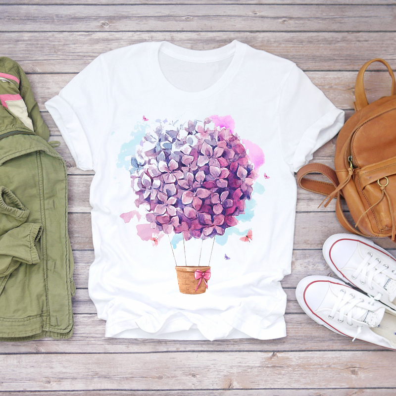 Women 2020 Summer Short Sleeve Floral Flower Fashion Lady T-shirts Top T Shirt Ladies Womens Graphic Female Tee T-Shirt(China)