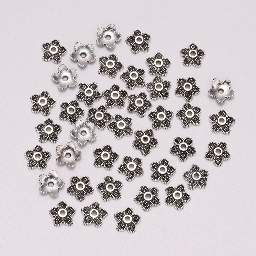 50pcs/Lot 7mm 5 Petals Flower Torus Beads Antique  Flower Loose Sparer Apart End Bead Cap For DIY Jewelry Making Findings