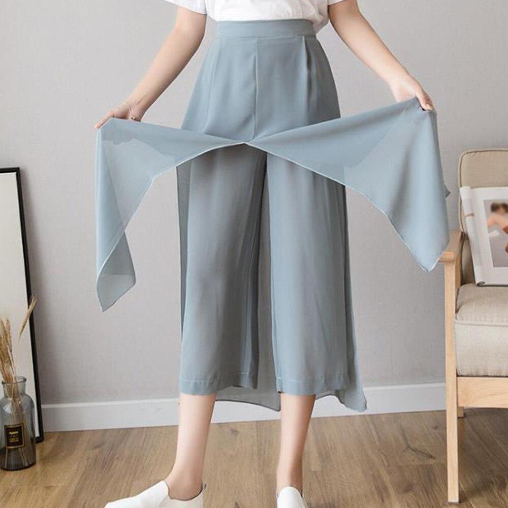 Women Summer Wide Leg Skirt Pants Plus Size Loose Capri Pant High Waist Casual Thin Chiffon Trouser Palazzo Boho Dance Pants