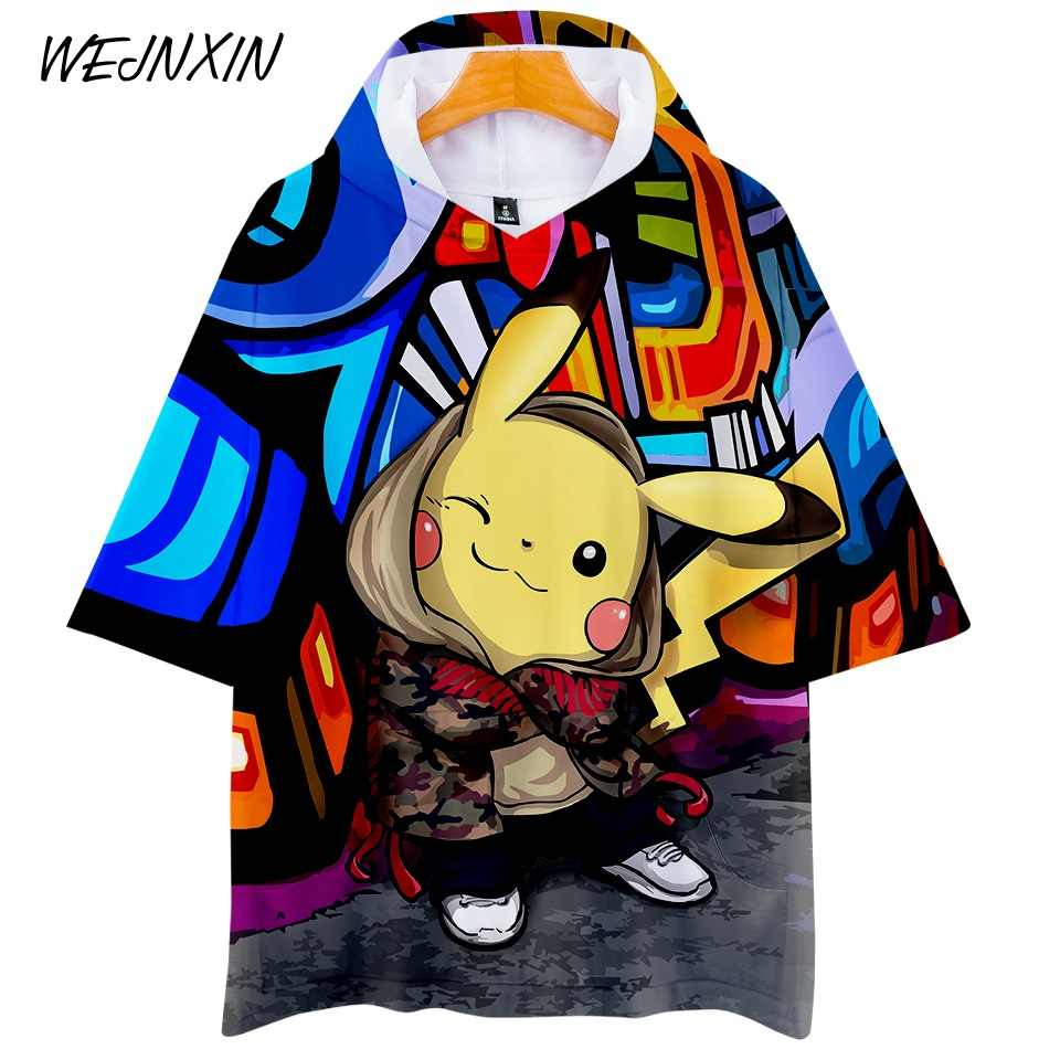 WEJNXIN Cool verano Pikachu 3D Multi impresión bolsillos diseños camiseta hombres mujeres Unisex capucha Pokemon Go Hot Game camiseta tops Tee