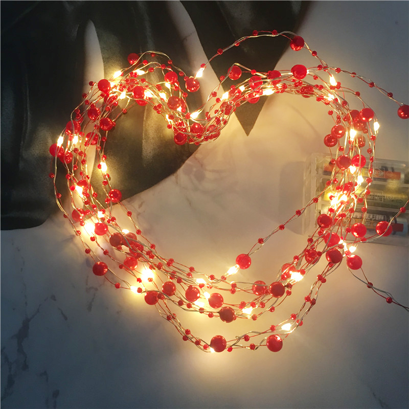 Retro Red Pearl Led String 5M 10M 3M 2M Christmas Lights For Party Garden Wedding Decoration Fairy Lighting 20-100Leds Lamp