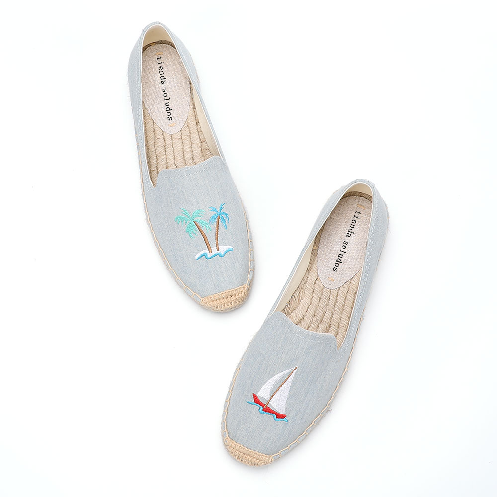 2020 Time-limited New Flat Platform Hemp Rubber Slip-on Casual Spring/autumn Hand-painted Sapatos Womens Espadrilles Flat Shoes