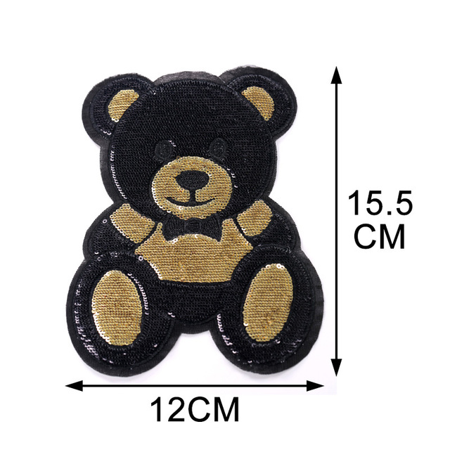 1 Piece S/L Size Cute Bear Sequins Embroidery Stickers Children'S Cloth Patches Holes Patches Cartoon Cloth Embroidery 2