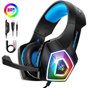 Image 1 - Casque de jeu stéréo entouré de basses profondes lumière LED casque sur oreille écouteur avec lumière pour LOL PC ordinateur portable Gamer