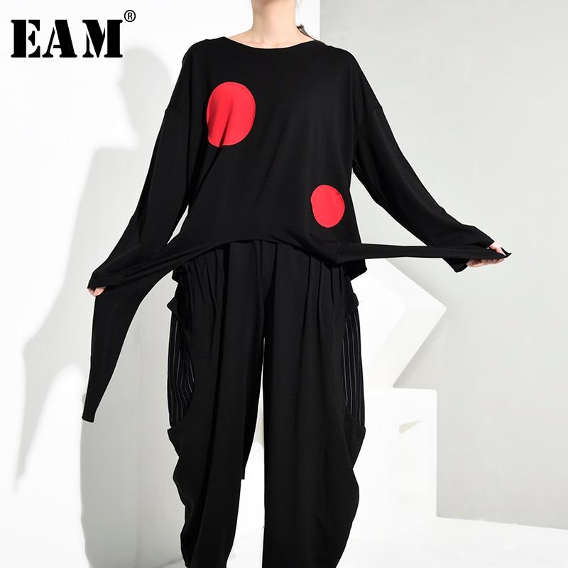 [EAM] Women Loose Fit Black Split Joint Fashion Long Vest New Turn-down Colalr Sleeveless All-match Spring Autumn 2019 JG5570