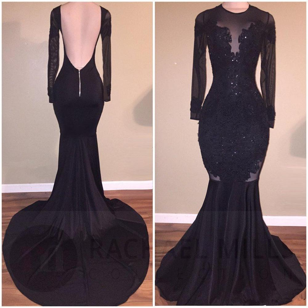 Black Prom Dress 2019 Mermaid Long Sleeves Appliques Lace Beaded Backless Long Prom Gown Evening Dresses Robe De Soiree