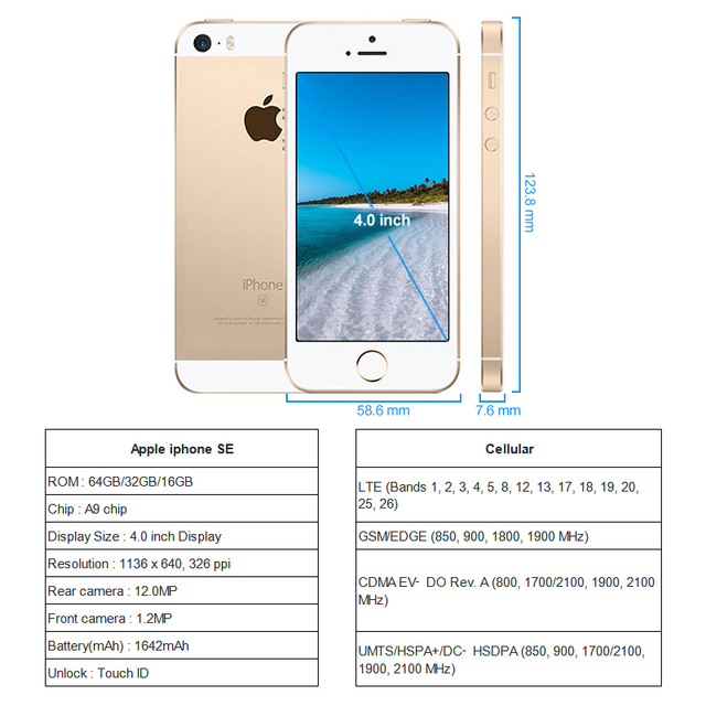 Apple iPhone SE 16GB ROM Unlocked Smartphone iOS A9 Touch ID 12MP Camera 4 inch Screen iphones SE Cell phone 6