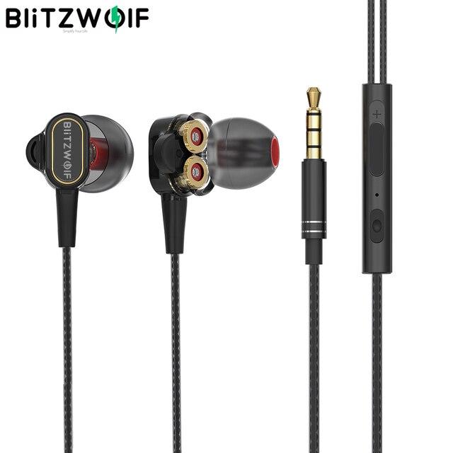 BlitzWolf BW ES4 유선 헤드폰 헤드셋 듀얼 다이내믹 드라이버 이어폰 IPX5 인 이어 이어폰 3.5mm 유선 컨트롤 이어폰 헤드폰 마그네틱 마이크 하이파이 음악