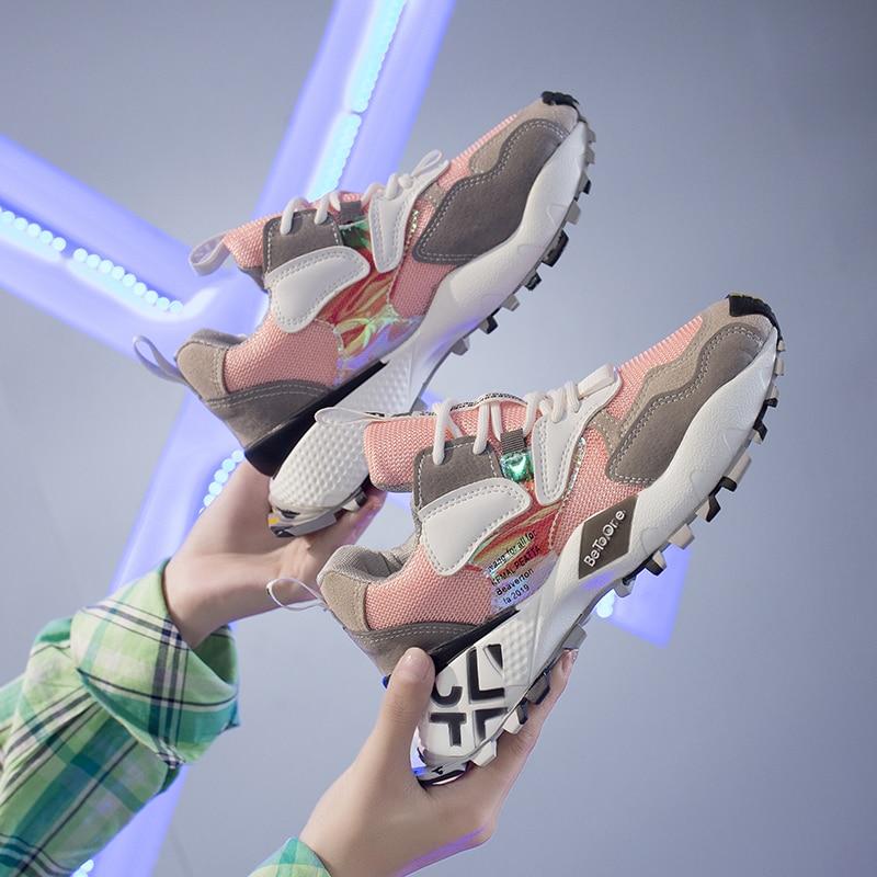 Fujin women sneakers 2020 spring autumn ladies shoes platform  for women flats lace up breathable sport casual platform shoes