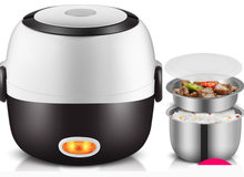 Mini Electric Rice Cooker Stainless Steel 2/3 Layers Steamer Portable Meal Thermal Heating Lunch Box Food Container Warmer(China)