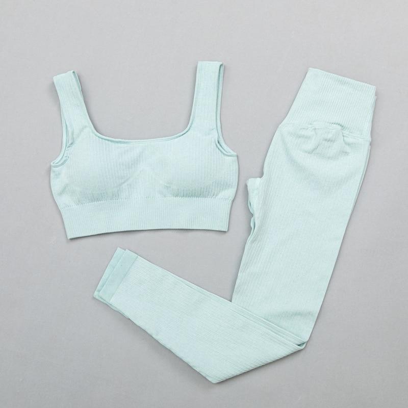 BraPantsBlue - Women's sportswear Seamless Fitness Yoga Suit High Stretchy