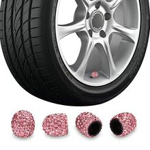 KKmoon 4 Pack Car Tire Valve CapsDiamond Valve Stem Caps Crystal Rhinestone Valve Core Cap New Creative Valve Cap Red