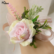 Meldel Groomsmen Boutonniere Bridesmaid Wrist Corsage Girl Bracelet Wedding Flower Boutonniere Artificial Silk Rose Champagne(China)