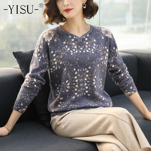 YISU Printed sweater Pullovers Women Autumn Winter Sweater Women Loose Top Long Sleeves Floral pattern Knitted Soft Sweaters
