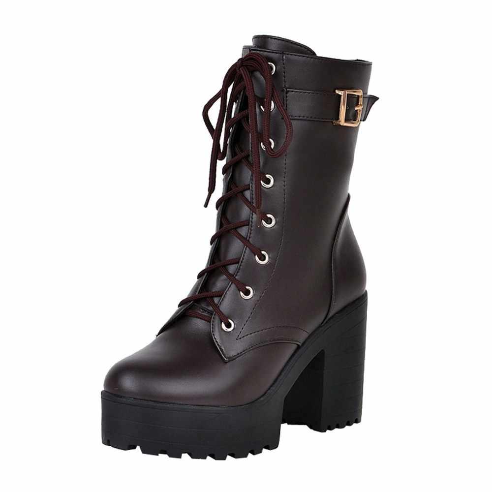 รองเท้าสำหรับสตรี 2019 ใหม่ elegant สแควร์ส้นรองเท้าผู้หญิงรองเท้าส้นสูง vintage รองเท้าผู้หญิง lace-up ผู้หญิงรองเท้า