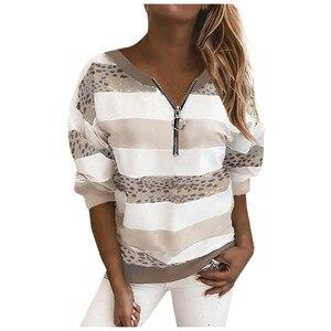 Fashion Women Striped Leopard Stitching Zipper Long Sleeve Blouse Sweatshirt Womens Fashion Clothing Платье Для Девочки