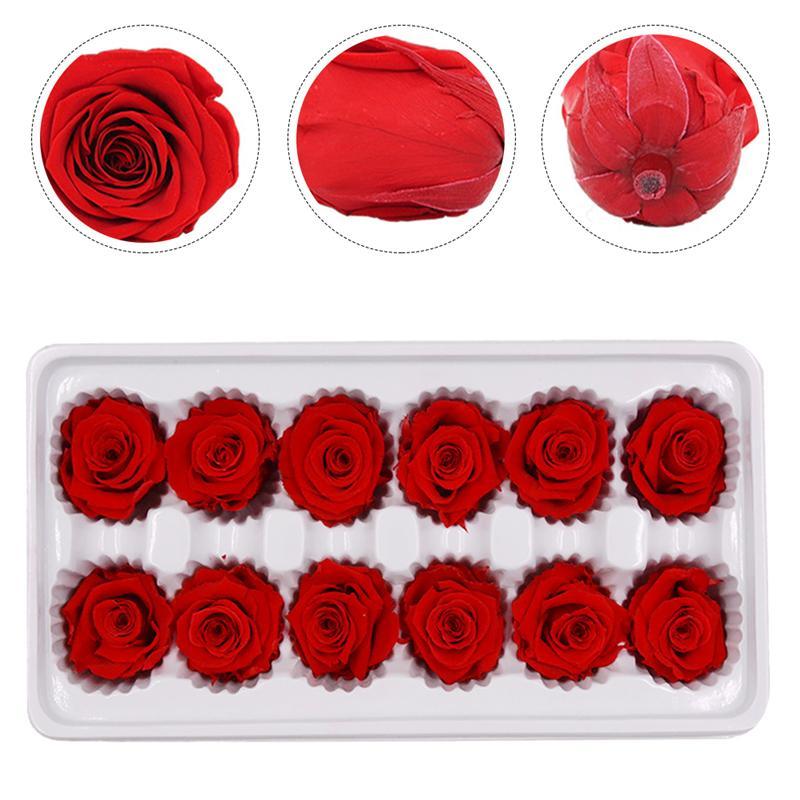 12 шт./кор. сухоцветов украшения сохраненный свежий цветок Свадебные украшения Букет роз с Материал Свадебные украшения