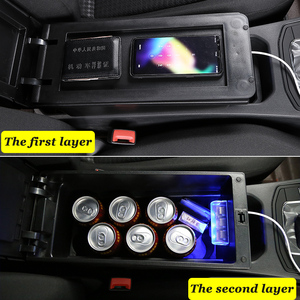 Image 3 - for Peugeot 2008 armrest box universal car center console caja  modification accessories double raised with USB No assembly