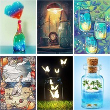 Cartoon Daimond Painting Bottle Full Square 5d Diy Diamond Embroidery Scenery Cup Cross-stitch Rhinestone Home Decor Gift A50 cartoon daimond painting sun moon full square 5d diy diamond embroidery abstract art cross stitch rhinestone home decor gift a45