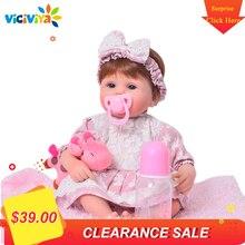 17 zoll Reborn Silikon Vinyl Puppe Nette Silikon Rebron Blau Augen Baby Puppe Mode Realistische Prinzessin Puppe Geschenk Für Mädchen