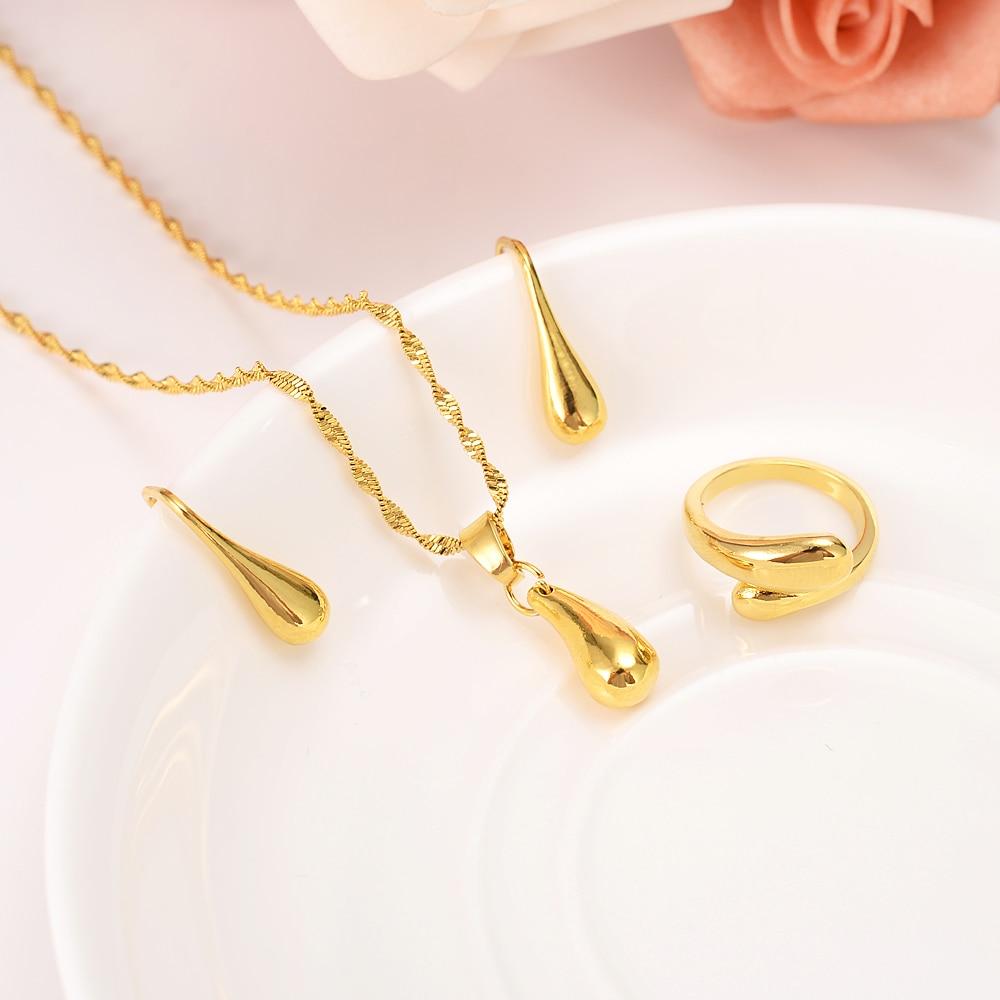 Ethiopian Gold set Jewelry water drop beads Pendant Necklace Earrings ring African Wedding Bride Eritrea Women Party gift