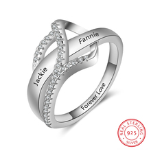 Personalized Ring Fashion 925 Sterling Sliver Jewelry Customized 2 Names Cubic Zircon Engagement Rings Promised Gift for Women