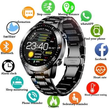 Lige 2020 nova banda de aço relógio digital dos homens do esporte relógios eletrônicos led masculino relógio de pulso para homens relógio à prova dbluetooth água bluetooth hora 1