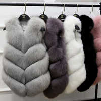 Mode femmes fourrure gilet véritable Faux renard fourrure manteau hiver chaud veste gilet pour femme M190819