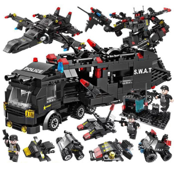 Building Blocks SWAT City Police Station Car Truck House Helicopter Blocks Constructor Construction Toys Gifts for Children 1122pcs 8in1 swat city police station building blocks compatible technic car truck creator bricks toys for children boys gifts