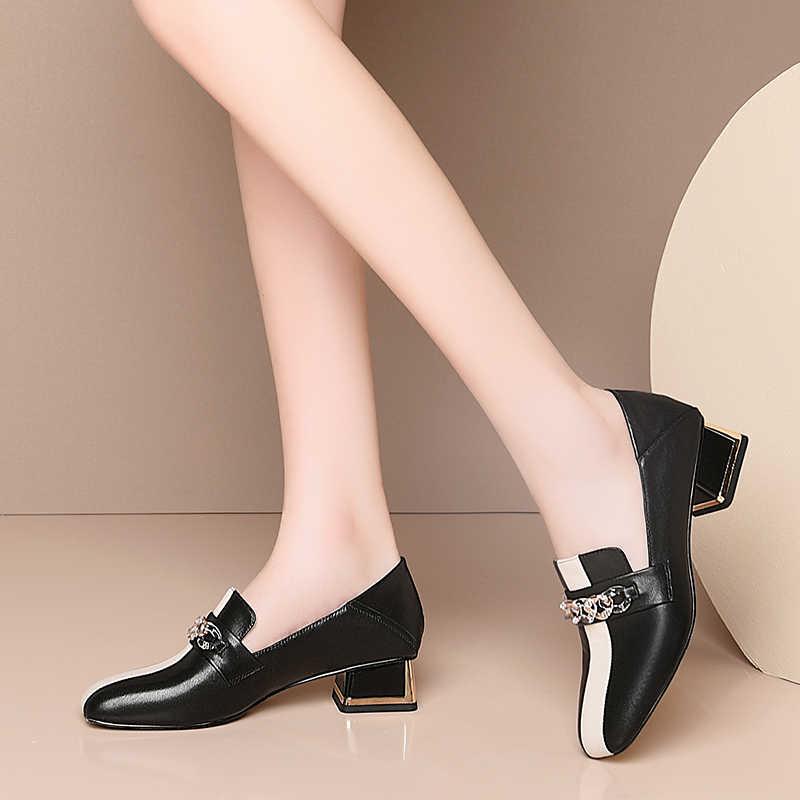 FEDONAS 2020 bahar yeni Euro tarzı karışık renkler kadın inek deri ayakkabı taklidi Metal zincir dekorasyon rahat ayakkabılar kadın