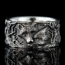 Anel de prata banhado a prata do vintage anel de lobo estilo punk animal lobo cabeça anel de casamento anel de aniversário anel de casal biker jóias